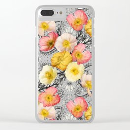 Collage of Poppies and Pattern Clear iPhone Case