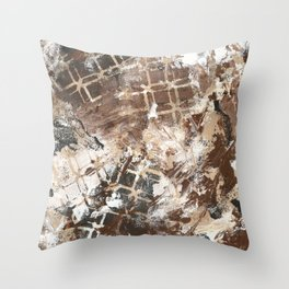 Neutral Abstract Painting Throw Pillow