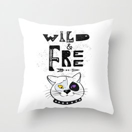Wild and Free cat. Throw Pillow