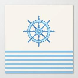 AFE Baby Blue Helm Wheel, Nautical Art Canvas Print