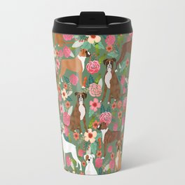 Boxer mixed coats dog breed florals pet gifts for boxers pupper must haves Travel Mug
