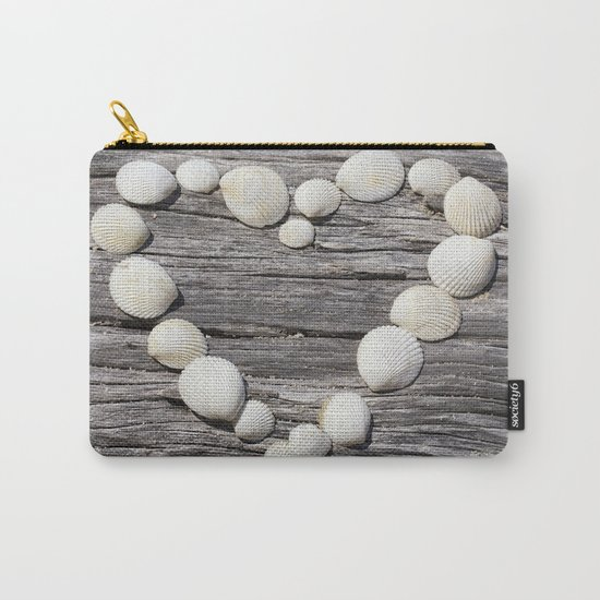 Shell Heart on driftwood Carry-All Pouch