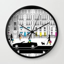 Shopping Avenue Montaigne Wall Clock