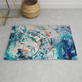 Reflections: a bold and interesting abstract mixed media piece in blues, yellows, orange, and white Rug