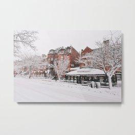Snowy Newbury Street Boston Metal Print