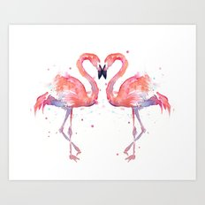 Pink Flamingo Love Two Flamingos Art Print