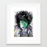 bob dylan Framed Art Prints featuring Bob Dylan by Irmak Akcadogan