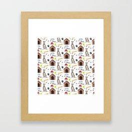 Irish Wolfhound Half Drop Repeat Pattern Framed Art Print