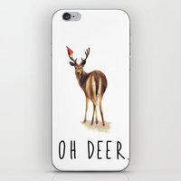 pun iPhone & iPod Skins featuring OH DEER Pun by Amy Chow