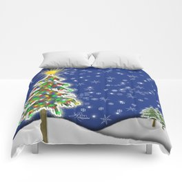 Lighted Christmas Tree at Night with Snowflakes Comforters