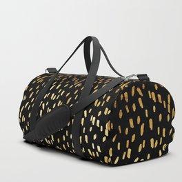 Gold Stripes on Black Duffle Bag