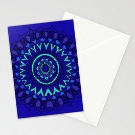 Hand- Drawn Bohemian Mandala in Sapphire Blue Stationery Cards