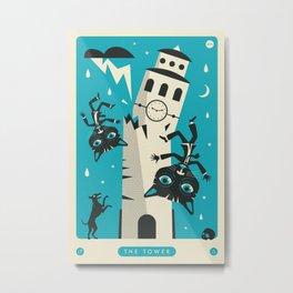 TAROT CARD CAT: THE TOWER Metal Print