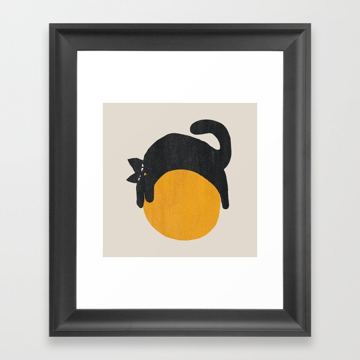 Cat with ball Gerahmter Kunstdruck