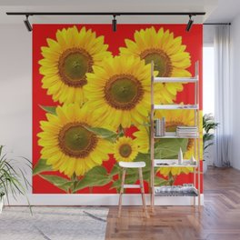 YELLOW-GREEN SUNFLOWERS RED COLOR Wall Mural