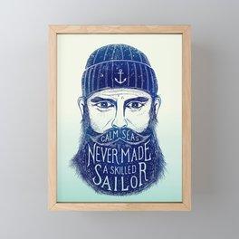 CALM SEAS NEVER MADE A SKILLED (Blue) Framed Mini Art Print