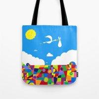 nursery Tote Bags featuring Up! Nursery Art by foreverwars