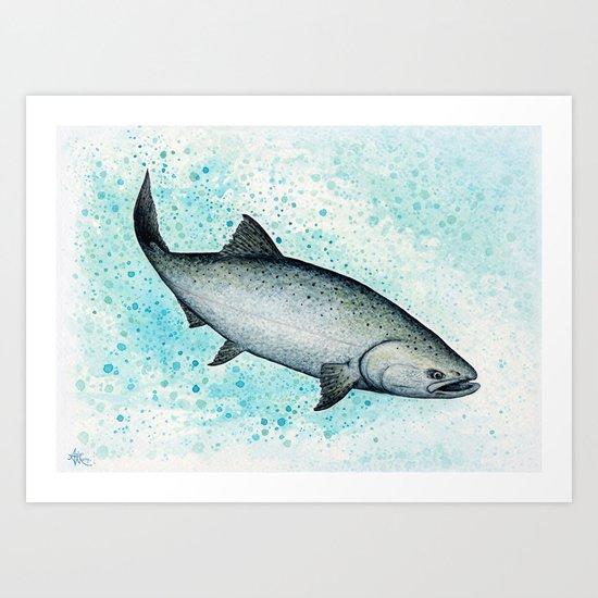 """Salmon Splash"" by Amber Marine ~ Watercolor Painting (c) 2016 Art Print"