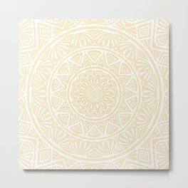 Pale Yellow Simple Simplistic Mandala Design Ethnic Tribal Pattern Metal Print