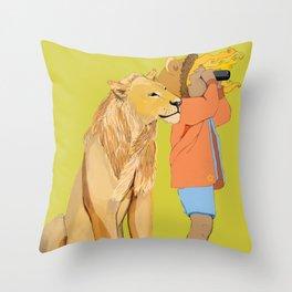Lion Girl Throw Pillow