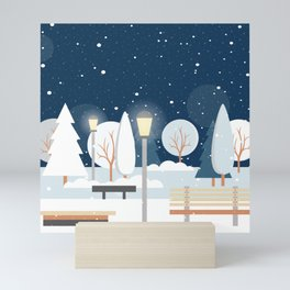 First Snow Fall in Central Park Mini Art Print