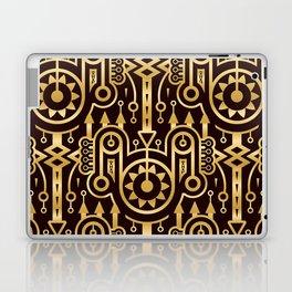 Golden Pattern in Techno Tribal Style. Gold on Dark Laptop & iPad Skin