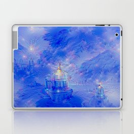 The Teapot Village - Blue Japanese Lighthouse Village Artwork Laptop & iPad Skin