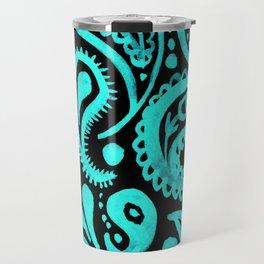 Handpainted Paisley Pattern Aqua and Black Color Travel Mug