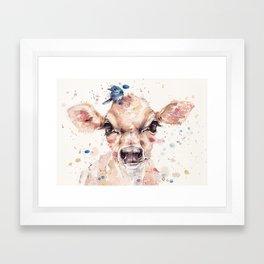 Little Calf Framed Art Print