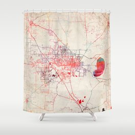 Gainesville map Florida painting Shower Curtain