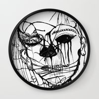 psycho Wall Clocks featuring ~psycho by alexisdarkness