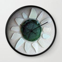 Sea Glass Sun Wall Clock