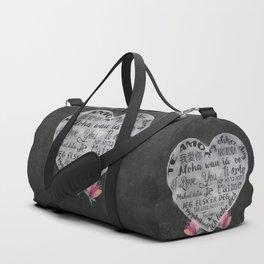 I Love You Chalk Heart Duffle Bag