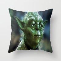 yoda Throw Pillows featuring Yoda by Robin Curtiss