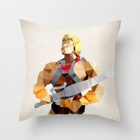 he man Throw Pillows featuring Polygon Heroes - He-Man by PolygonHeroes