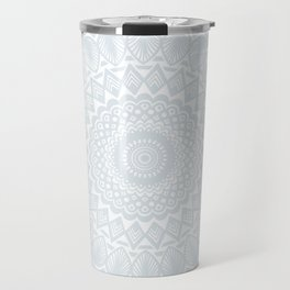 Minimal Minimalistic Light Cool Gray Mandala Travel Mug