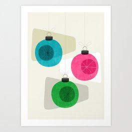 Retro Holiday Baubles Art Print