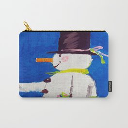 Davos Switzerland Snowman - Vintage Travel Carry-All Pouch