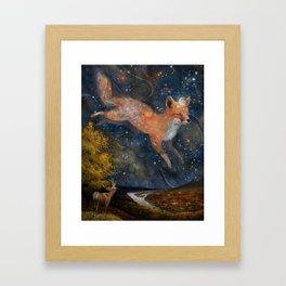 The Fox In The Starlight Framed Art Print