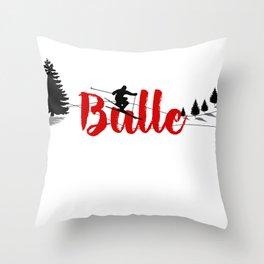 Ski at Bulle Throw Pillow