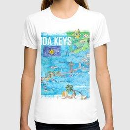 Florida Keys Key West Marathon Key Largo Illustrated Travel Poster Favorite Map 2nd Signpost Edition T-shirt