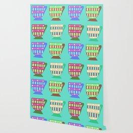 Bright Multicoloured Pop-Art Doodle Teacups Illustrated Pattern Wallpaper
