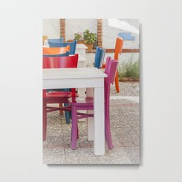 Colorful chairs and white tables Metal Print