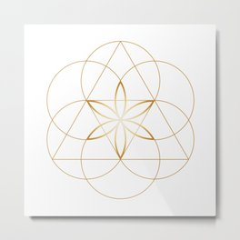 Modern Minimalist Sacred Geometry Symbol, Geometric Flower of Life in Gold and White Abstract Luxury Metal Print