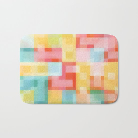 Soft Squares Geometric in Yellow, Orange, Red and Blue Bath Mat
