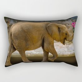 Cheerful elephant with flowers Rectangular Pillow