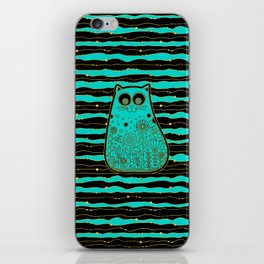 Cute Gold Framed Cat on Black and Teal iPhone Skin