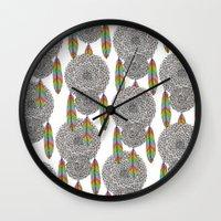 dream catcher Wall Clocks featuring Dream Catcher by Luna Portnoi