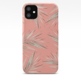 White Gold Palm Leaves on Coral Pink iPhone Case