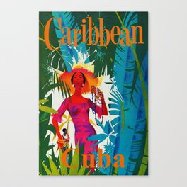 Vintage Caribbean Travel - Cuba Canvas Print